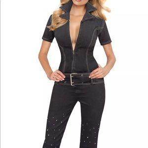 Pants - Jumpsuit jean romper one piece crystal pant outfit